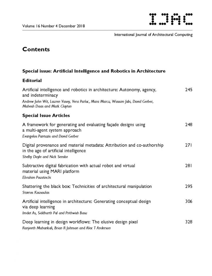 Co Edited Journal Issue On Ai Robotics In Architecture Professor